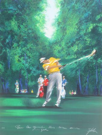 Lithograph Spahn - Golfeur jaune II