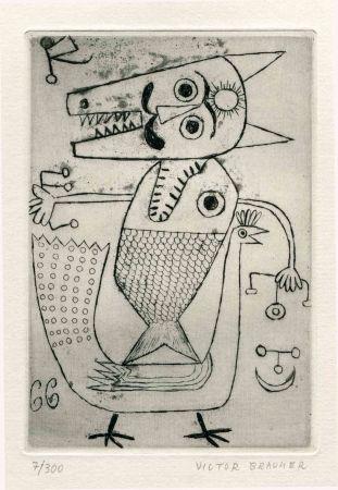Engraving Brauner - GOLL (Yvan). Le Char triomphal de l'Antimoine.