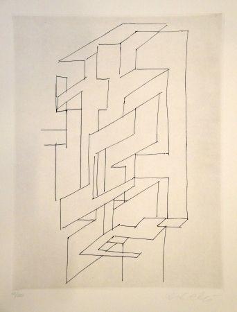 Etching Vasarely - Gordes gestalt