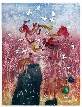 Etching And Aquatint Matta - Grand Circus (1975)
