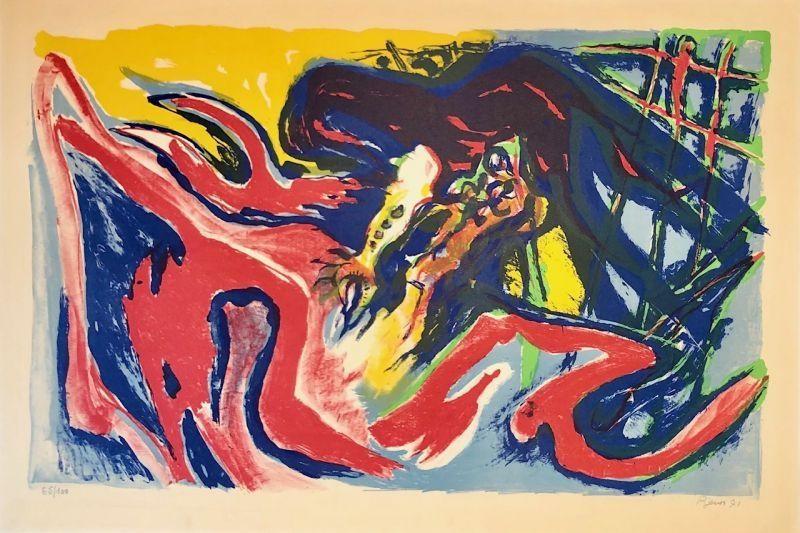 Lithograph Pignon - Grand combat de coqs