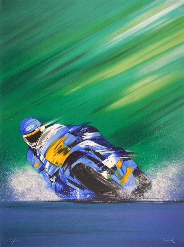 Lithograph Spahn - Grand prix de Moto