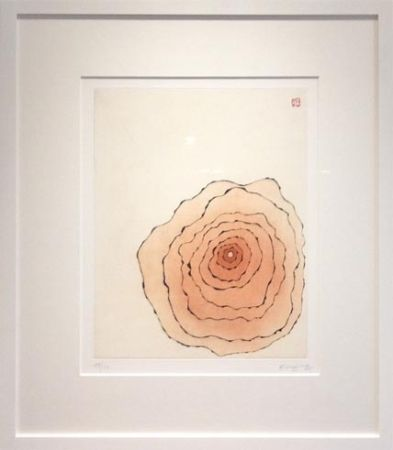 Aquatint Minjung - Grande fleur orangée