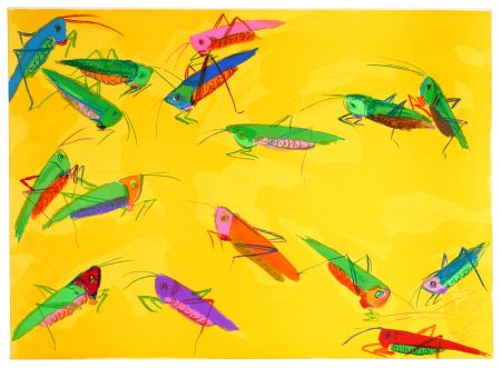 Lithograph Ting - Grasshoppers