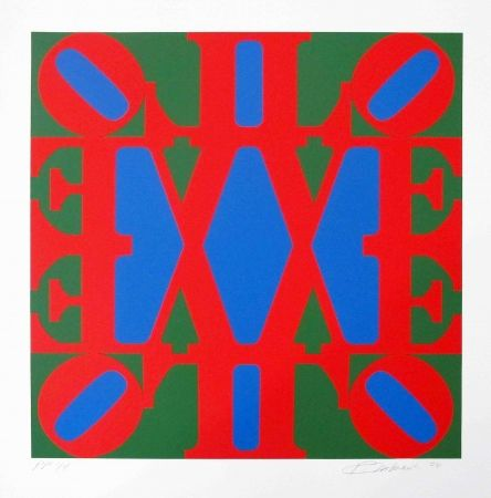 Screenprint Indiana - Great Love, Red, Green, Blue 'v' Centre