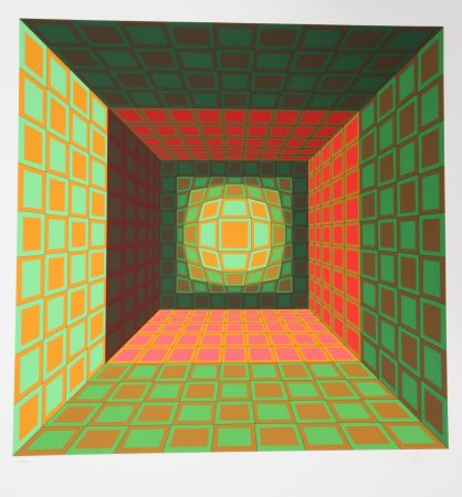 Screenprint Vasarely - Green and Orange Composition