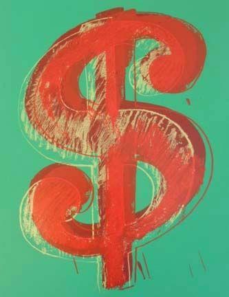 Screenprint Warhol - Green Dollar