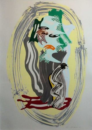 Lithograph Lichtenstein - Green Face, from Brushstroke Figures