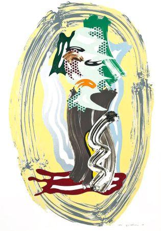 Lithograph Lichtenstein - Green Face, from Brushstroke Figures Series