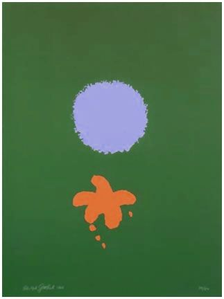 Screenprint Gottlieb - Green Ground, Blue Disk (1966)