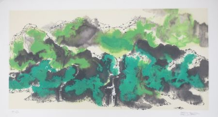 Lithograph Po Chung - Green mountain