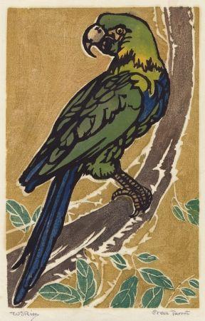 Woodcut Rice - Green Parrot
