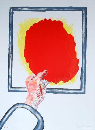 Lithograph Raveel - Greep op rood