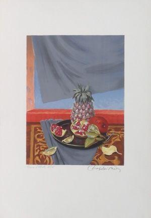 Lithograph Chapelain-Midy - Grenades et ananas