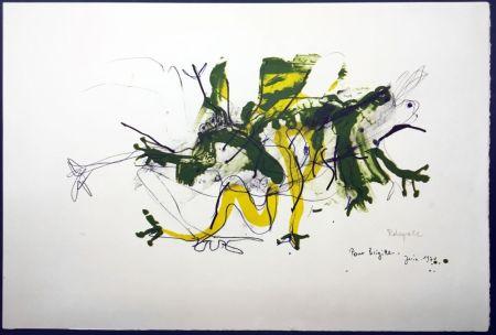 Lithograph Rebeyrolle - GRENOUILLES. Lithographie signéeet dédicacée (1970).