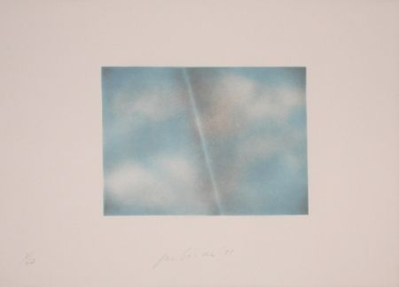 Lithograph Goode - Grey Folded Clouds - II Blue and white