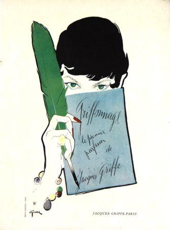 Lithograph Gruau - Griffonage  Parfum De Jacques  Griffe