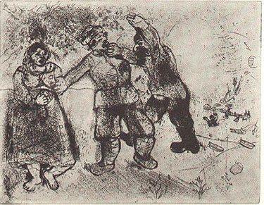 Engraving Chagall - Grigori Va-Toujours-Et-Tu-N'Arriveras-Pas