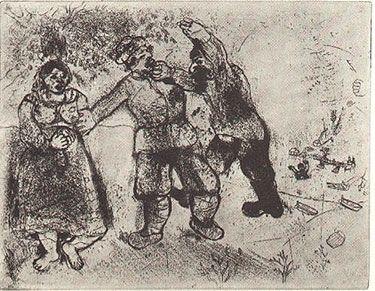 Engraving Chagall - GRIGORI VA TOUJOURS ET TU N'ARRIVERAS PAS