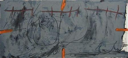 Lithograph Tàpies - Gris orange