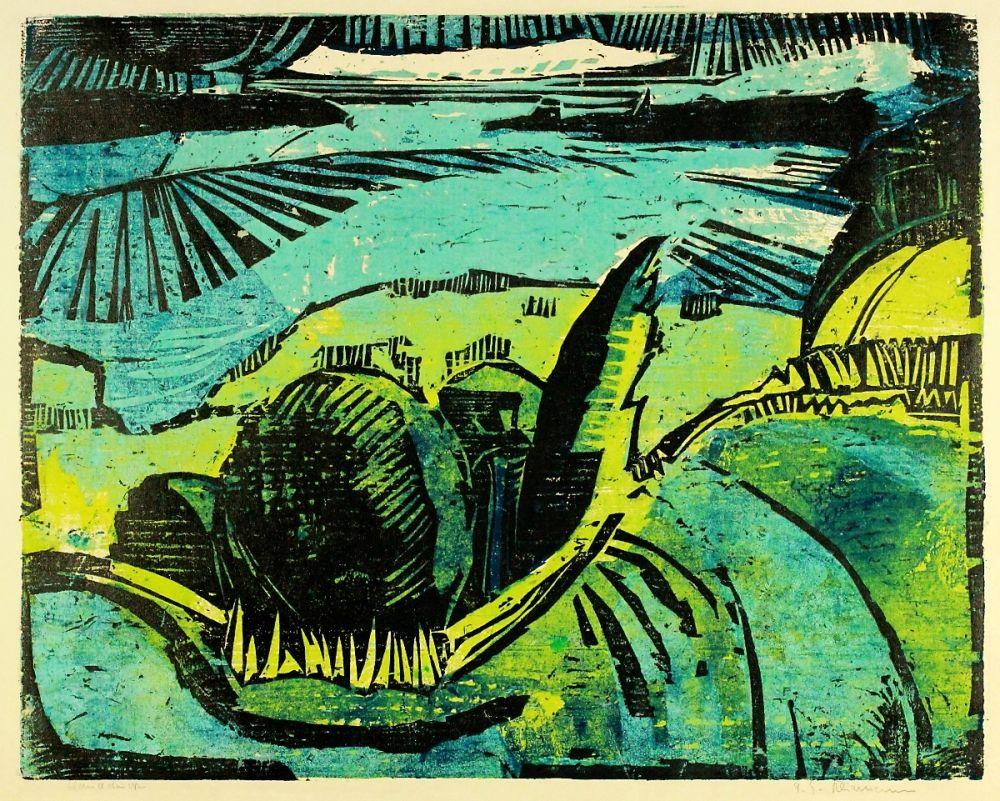 Woodcut Kliemann - Große Havellandschaft (Landscape with Havel river)