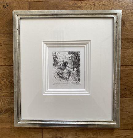 Lithograph Pissarro - Group de paysans