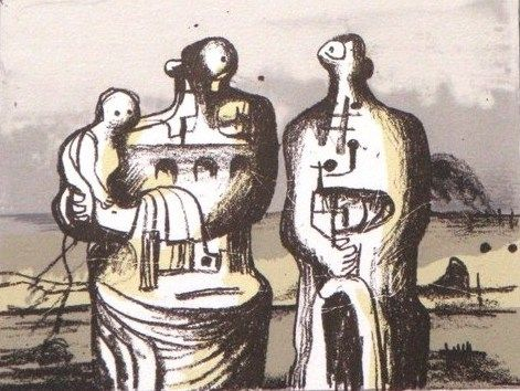 Lithograph Moore - Group in industrial landscape C. 418