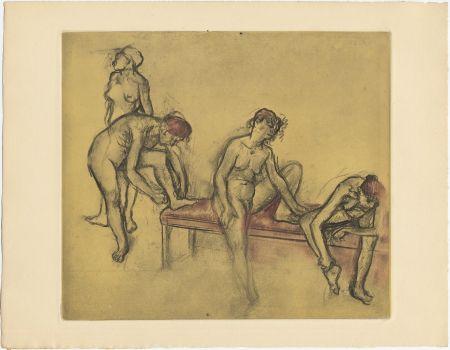 Etching And Aquatint Degas - Groupe de danseuses (étude du nus et mouvements. 1897)