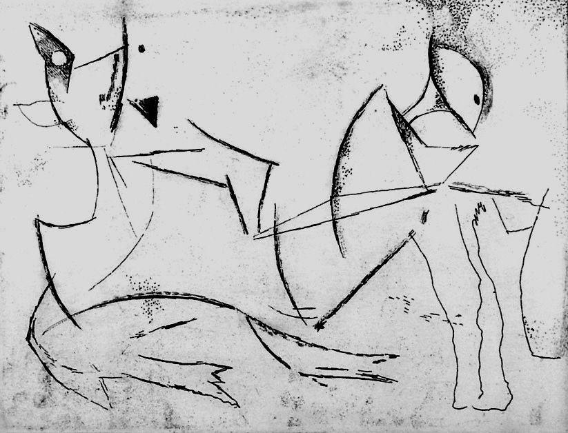 Engraving Marini - Guerriero