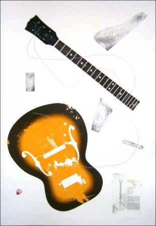 Engraving Herrou - Guitare jaune sur fond blanc