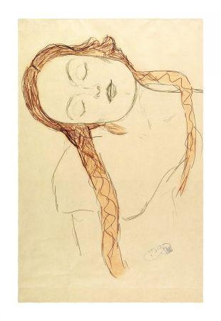Lithograph Klimt - Gustav Klimt - Portrait of a Girl