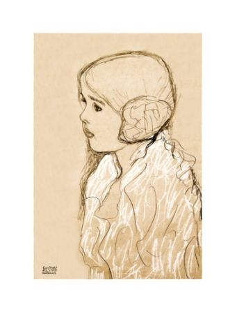 Lithograph Klimt - Gustav Klimt - Portrait of a Young Girl