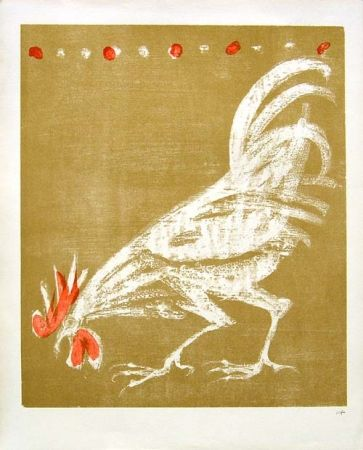 Lithograph Fischer - Hahn / Rooster