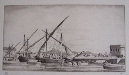 Etching Strang - Harbour Scene, Syracuse