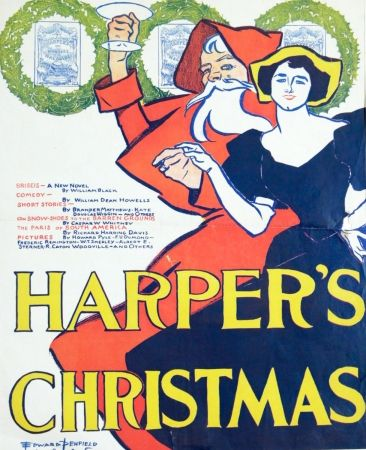 Lithograph Penfield - HARPERS CHRISTMAS 1895
