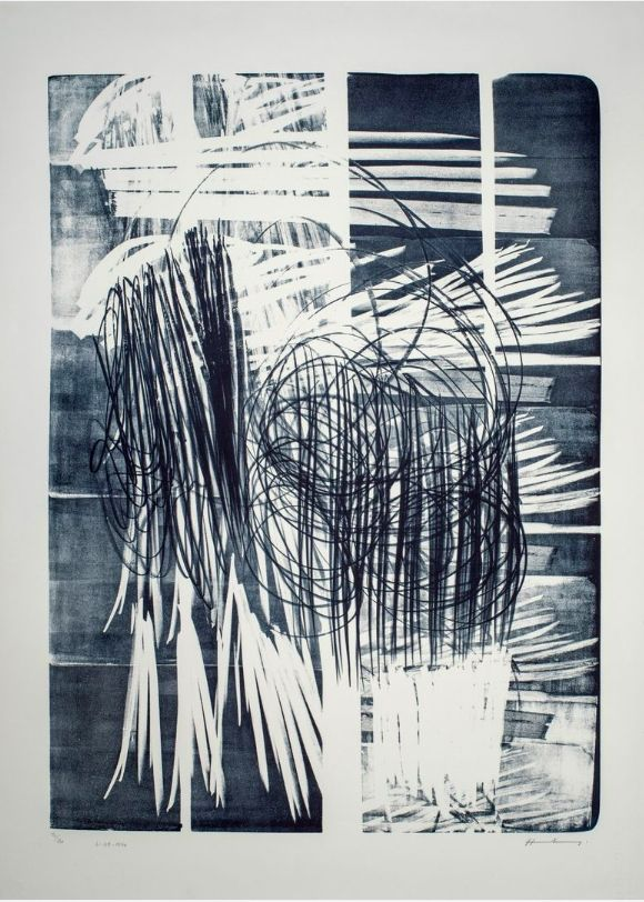 No Technical Hartung - Hartung Hans (1904-1989)  L-16B-1974  Lithographie en noir
