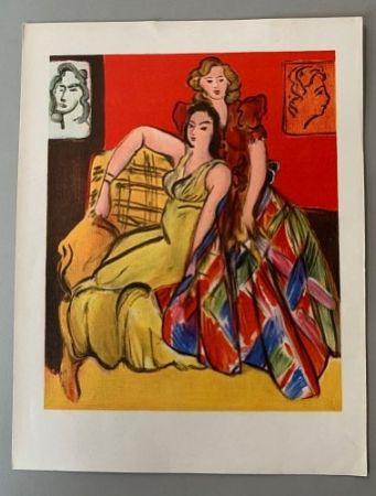 Lithograph Matisse - Henri Matisse – Deux jeunes filles, robe jaune, robe ecossaise