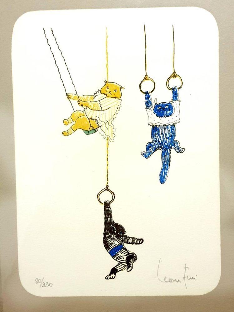 Lithograph Fini - Heureux Chats Acrobates