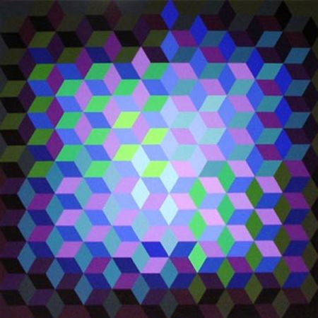 Screenprint Vasarely - Hexagon 7
