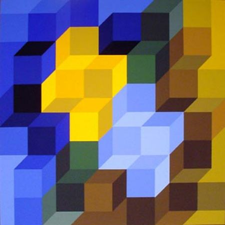 Screenprint Vasarely - Hexagon 8
