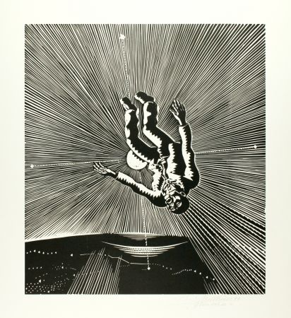 Woodcut Mattheuer - Hin ist er (The Fall of Icarus)
