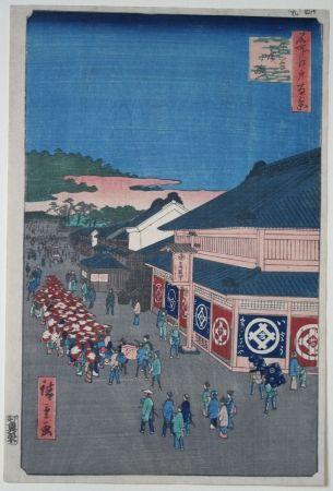 Woodcut Hiroshige - Hirokoji Street in the Shitaya District