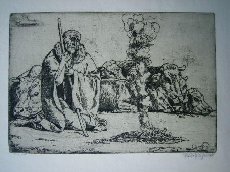 Etching Scheller - Hirt am Feuer