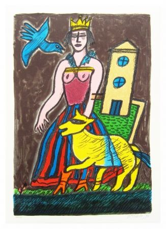 Lithograph Corneille - Histoire d'une reine