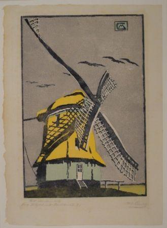 Woodcut Cunz - Holländische Windmühle