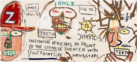 Screenprint Basquiat - Hollywood Africans in Front of the Chinese Theater with Footprints of Movie Stars
