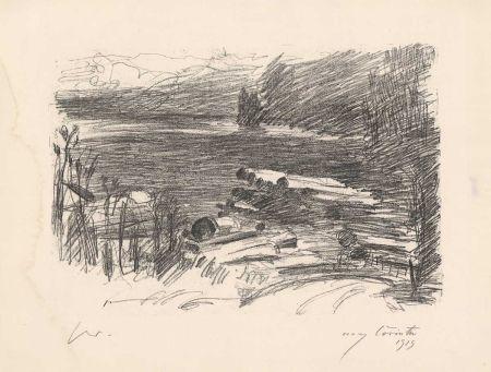 Lithograph Corinth - Holzplatz am Walchensee