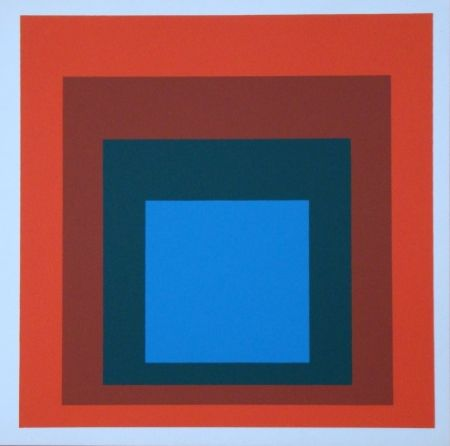 Screenprint Albers - Homage to the Square - blue+darkgreen with 2 reds, 1955
