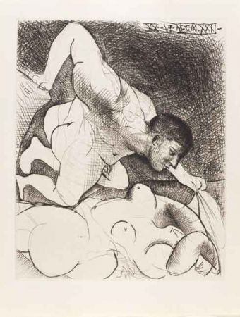 Drypoint Picasso - Hombre Descubriendo Una Mujer