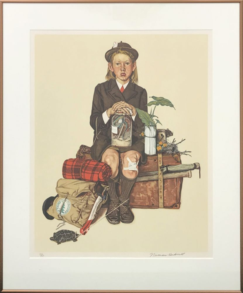 Lithograph Rockwell  - HOME FROM CAMP